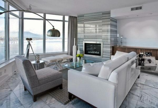 Маленькая гостиная Идеи дизайна Современные нейтральные цвета белый диван.