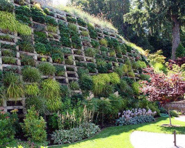 Впечатляющий сад, вертикальные стены. Деревенский стиль ландшафтного дизайна.