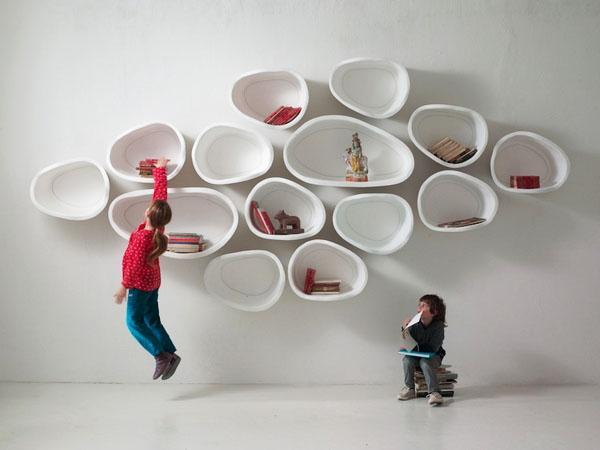 Уникальные настенные книжные полки мебель для гостиной.