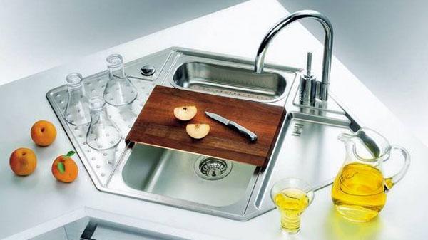 Кухонная раковина из нержавеющей стали современный смеситель угловая раковина.