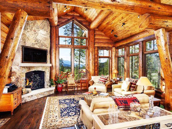 Коттедж из дерева гостиная
