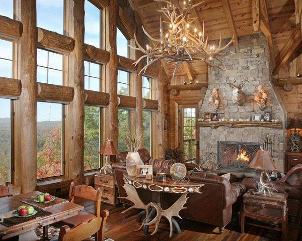 Идеальный коттедж из дерева гостиная