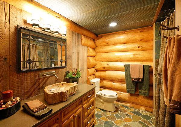 Идеальный коттедж из дерева туалет, ванная