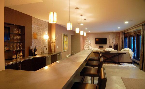 Идеи кухонных столешниц окрашенных бетонные столешницы современное освещение.