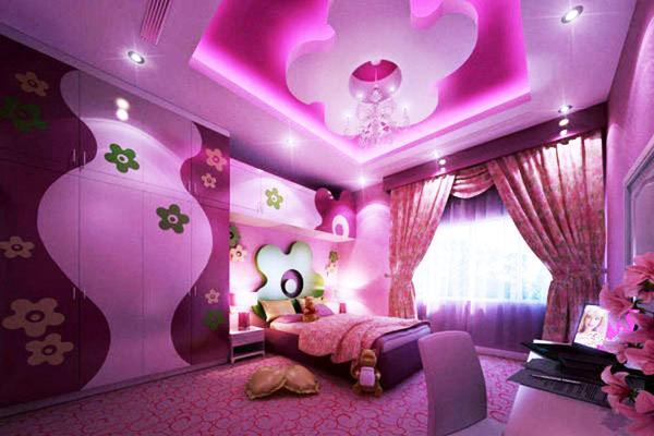 детская комната потолки идеи, розовые фиолетовые цвета