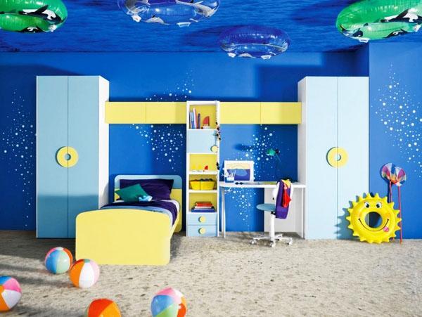 прохладный дизайн потолков, пляж тема декор детская мебель
