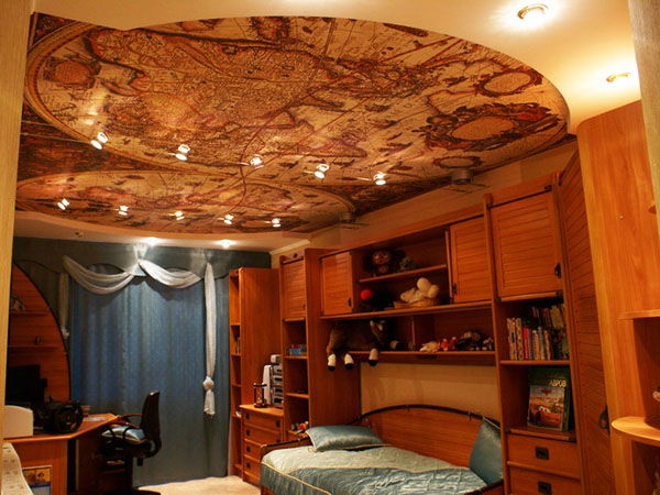 спальня потолок идеи древняя карта мира