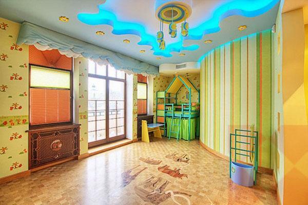 оригинальные детские потолки для спальни, дизайн современных идей двухъярусная кровать.