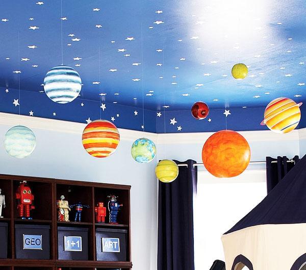 творческие идеи спальни для детей, звездное небо.