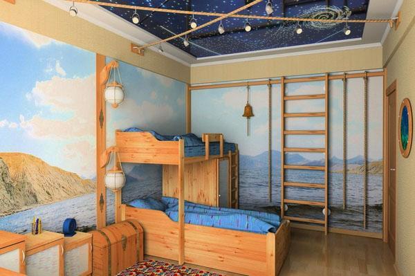 дизайн детской комнаты двухъярусные кровати