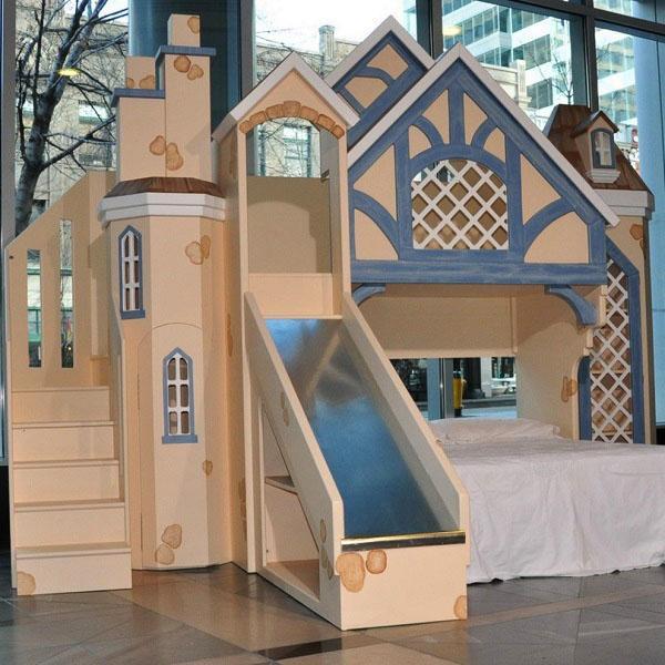 Идеи для детей в спальне - двухъярусная кровать с замковой башней