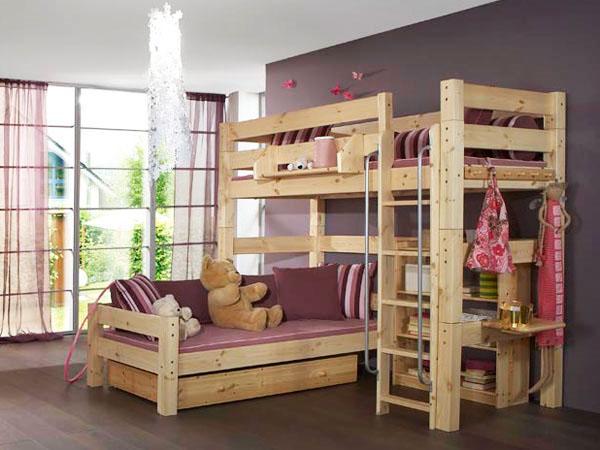двухъярусная кровать, компактная мебель, небольшая спальня