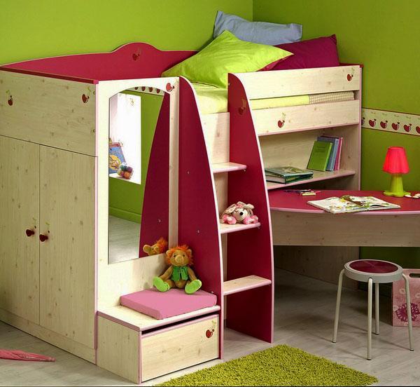 спальное место с ложечной кроватью в детской комнате.