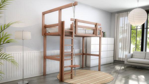 деревянная кровать для лофта с альпинистской веревкой