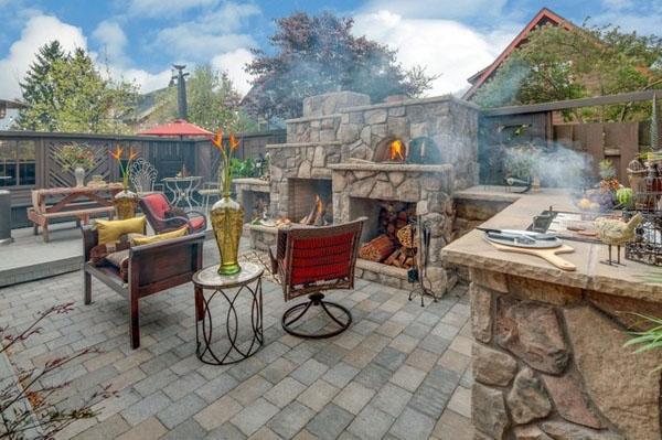 идеи для кухни на открытом воздухе каменный камин