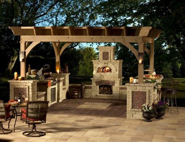 Сад барбекю пергола дровяной открытый