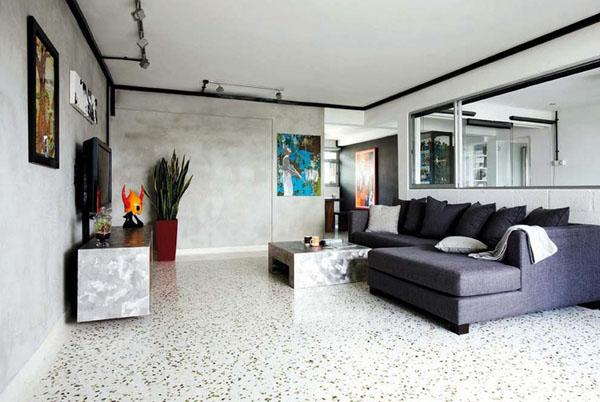 красивые терраццо полы современные гостиная дизайн идеи секционный диван