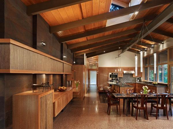 столовая дизайн идеи терраццо пол кухня открытого плана