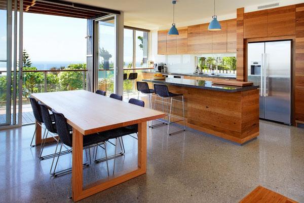 современная кухня открытого плана завтрак бар терраццо пол