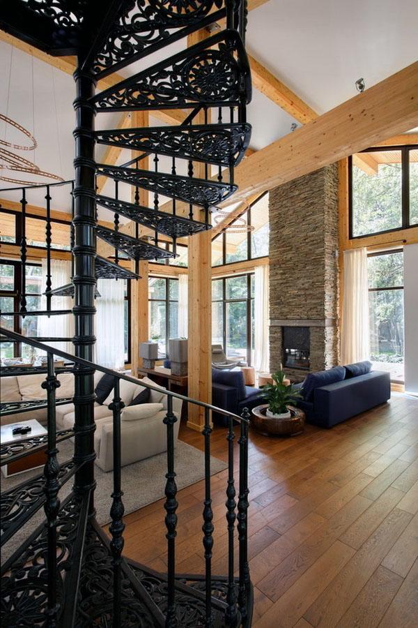 Лестница - мощный декоративный элемент в гостиной