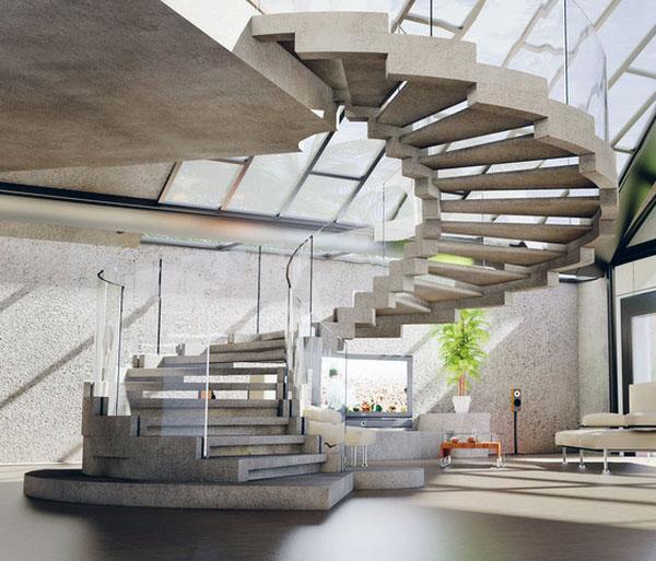 Лестница является фокусом дизайна интерьера
