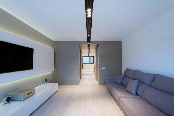План открытого этажа объединяет столовую кухню и гостиную.