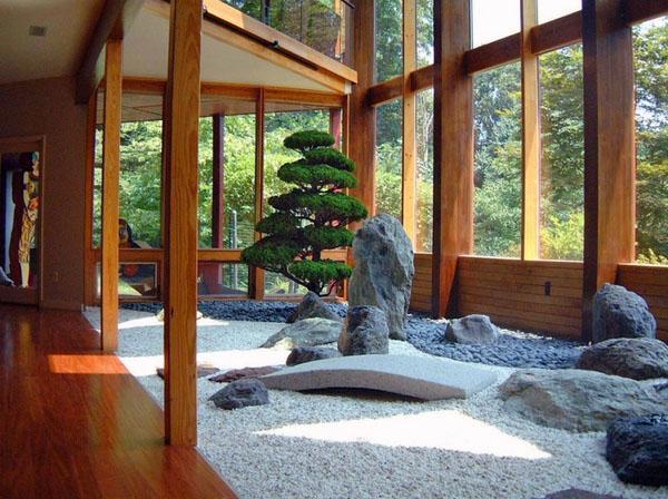 идеи бонсай дерево камни камни, песок.