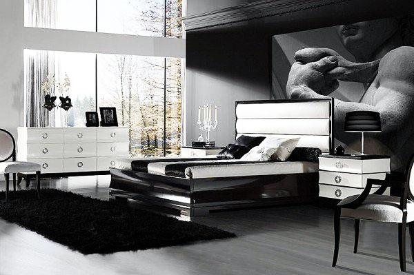 Спальня в белом и черном.