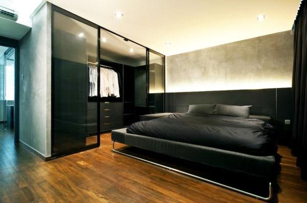 Черный цвет в мужской спальне.