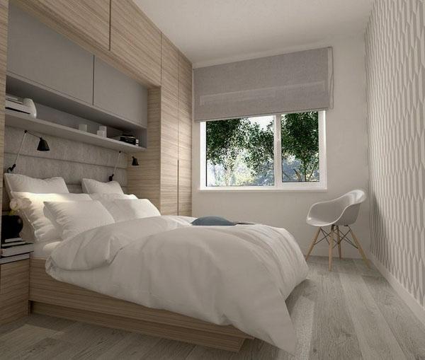 Модные серые стены и белые настенные шкафы