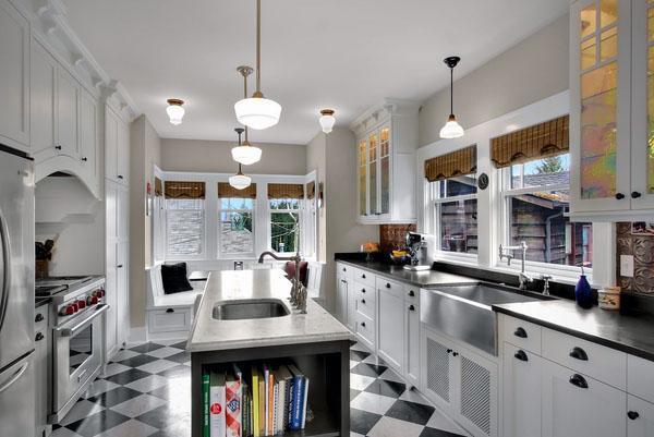 белый дизайн кухни черный белый линолеум напольная плитка