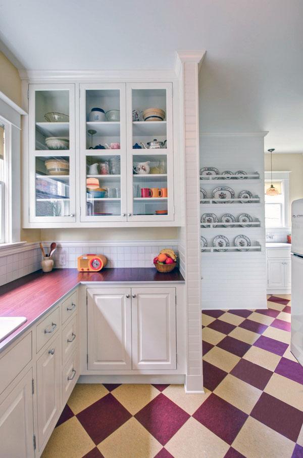 линолеум настил кухни этаж идеи клетчатый узор напольная плитка