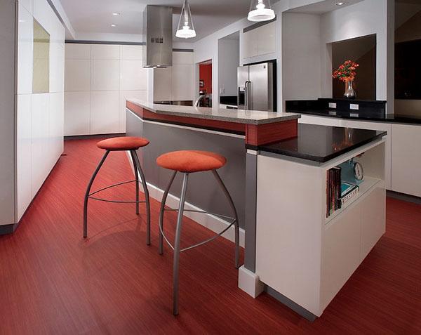 Красный линолеум для кухни с барной стойкой.