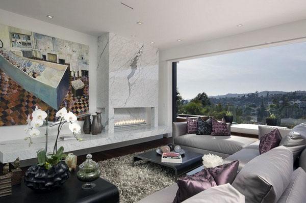 мраморная плитка, жилая комната