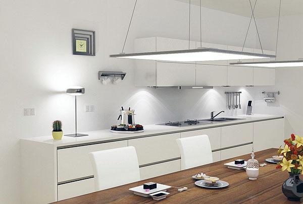 современная кухня, современное кухонное освещение.
