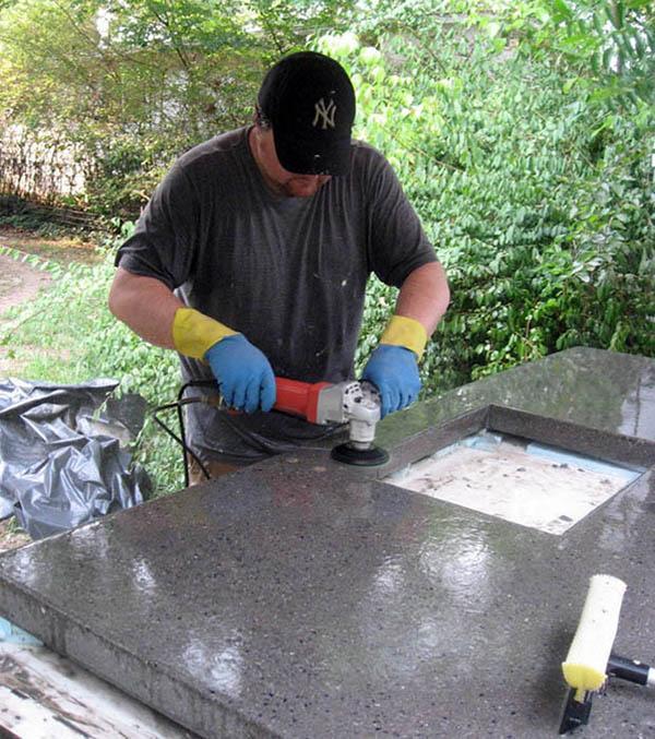 Полировка бетонной столешницы
