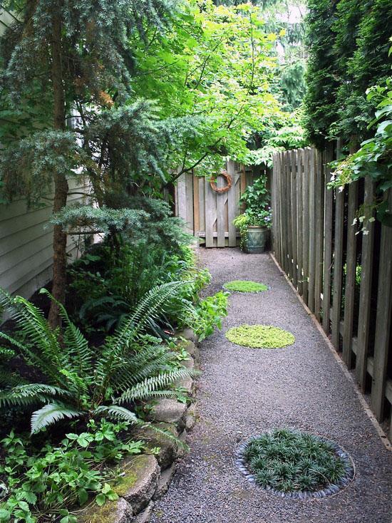 стильный дизайн сада гравийные дорожки