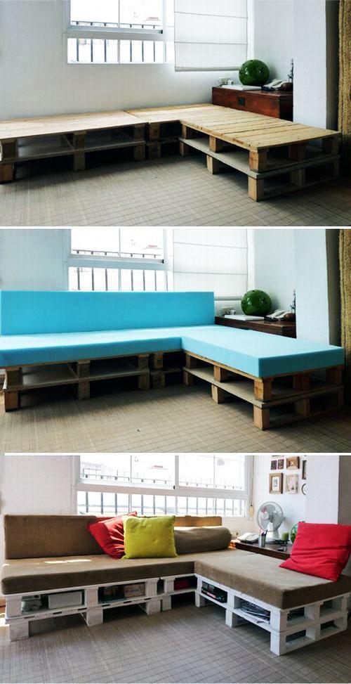 Удобный диван из деревянных поддонов