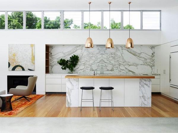 Фантастический мраморный интерьер кухни