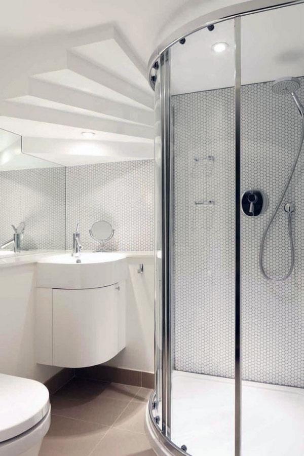 открытый душ без двери, черные стеклянные стена