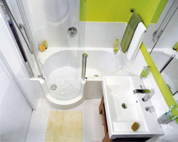 небольшой угловой проект ванной комнаты