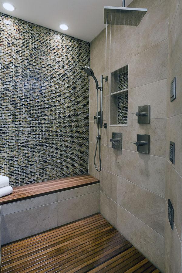 скамейка современная ванная комната с душевой кабиной