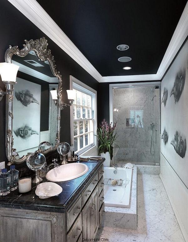 Идеи ванной комнаты с потолком
