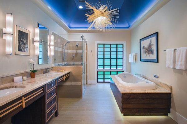 Идеи дизайна потолка ванной комнаты.