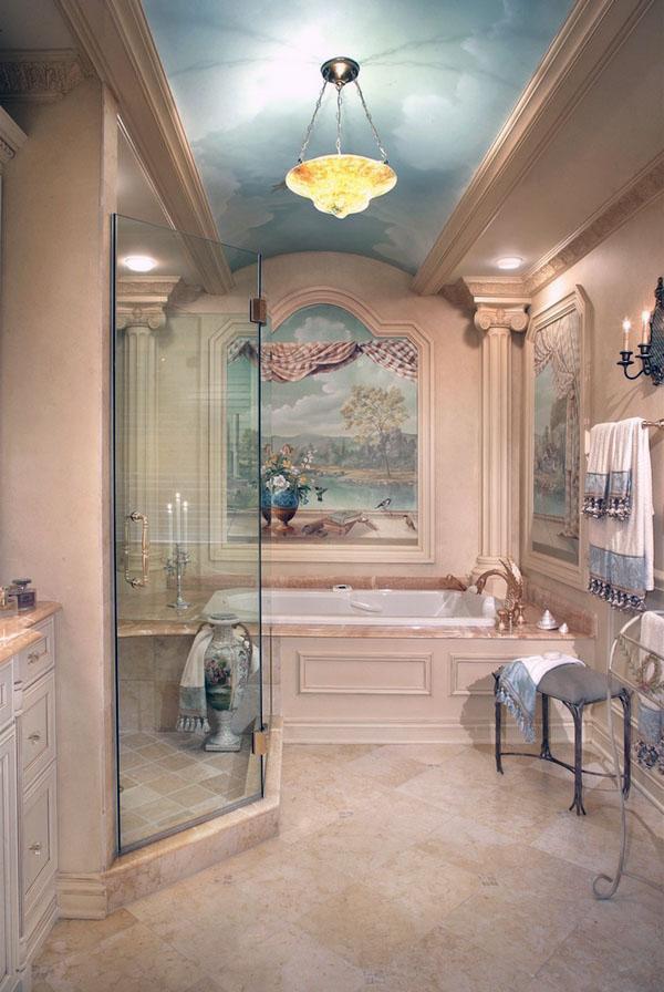 ванная потолок дизайн идеи окрашены потолок ванная комната темный пол