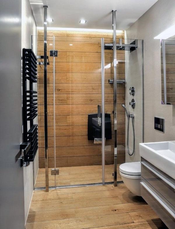 Интерьер ванной со стеклянными перегородками