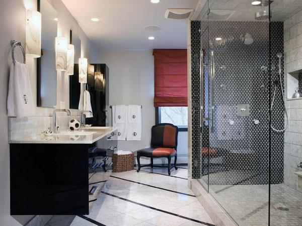 Дизацн ванной со стеклянной перегородкой в душе