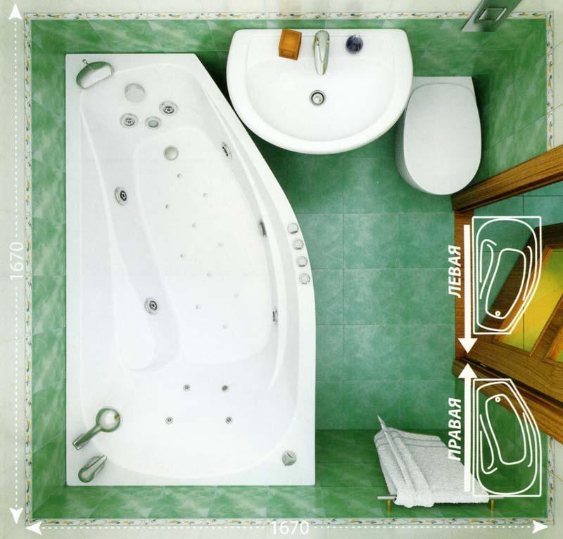 Размеры угловой акриловой ванной