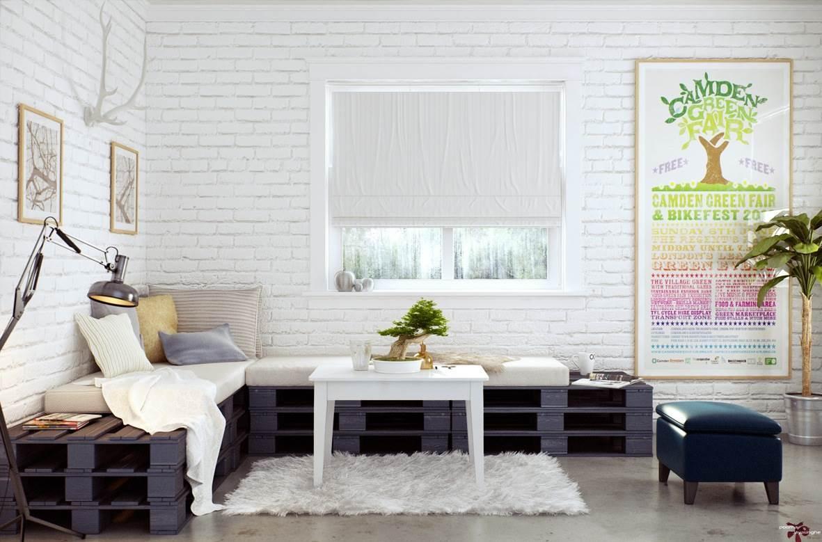 Белая кирпичная стена в интерьере современной квартиры13