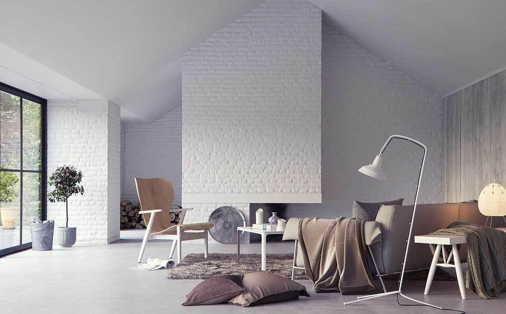 Белая кирпичная стена в интерьере современной квартиры17